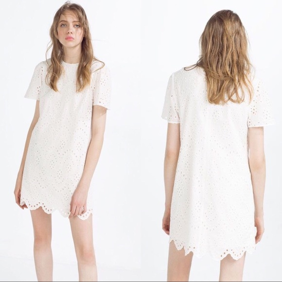 11f021270f Zara White Eyelet Embroidered Shift Dress XS. M_5b3187059fe486caf92d4dea